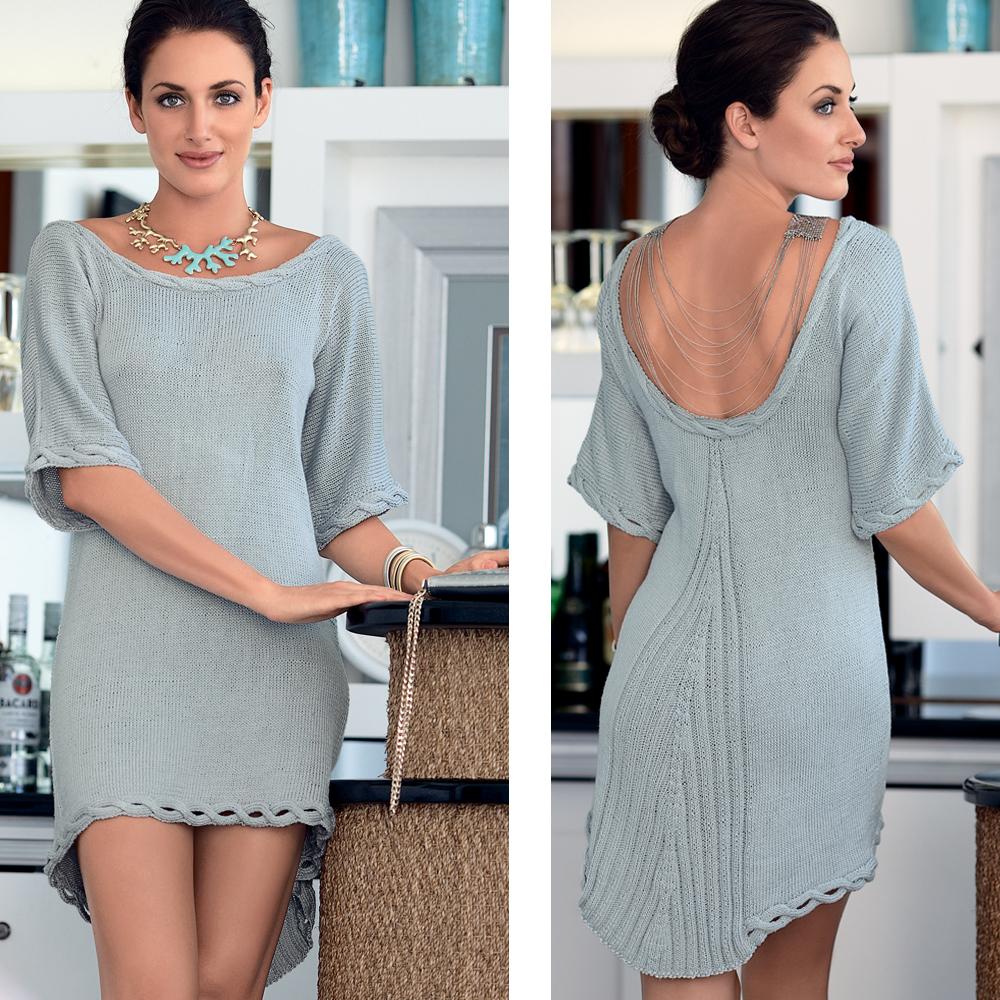 Вяжем платье с горловиной