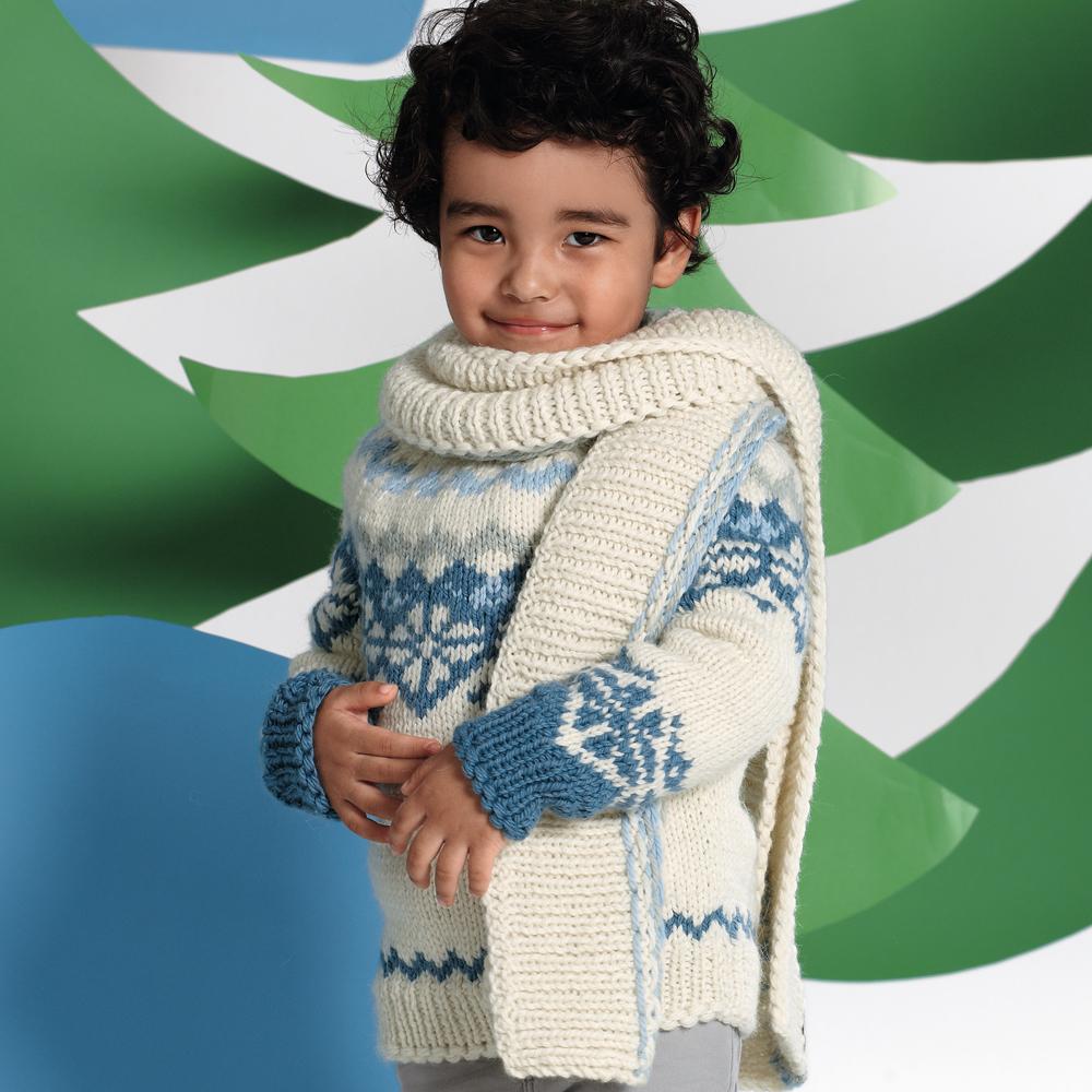 Детский джемпер с норвежским узором и шарф