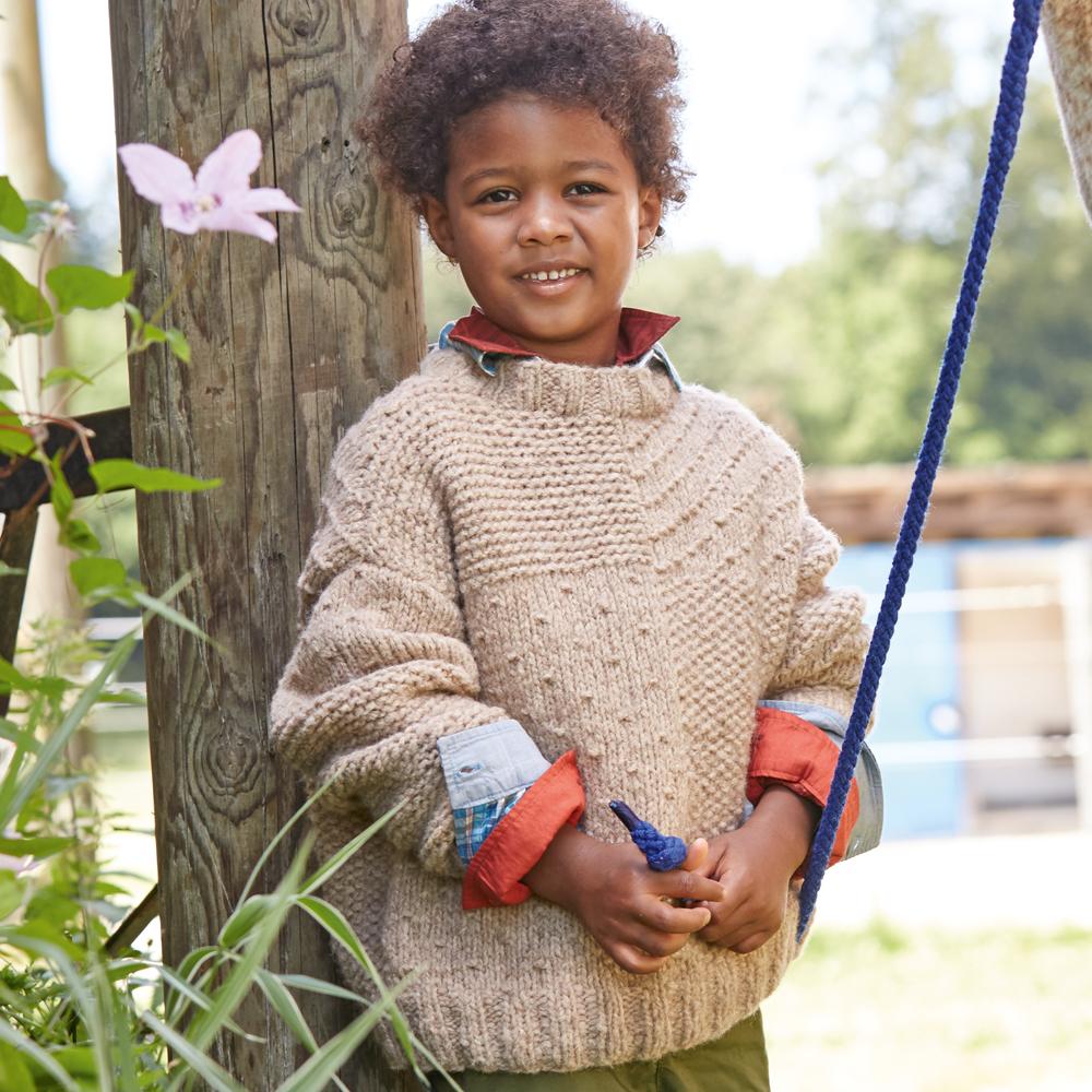 Детский джемпер с рельефными узорами