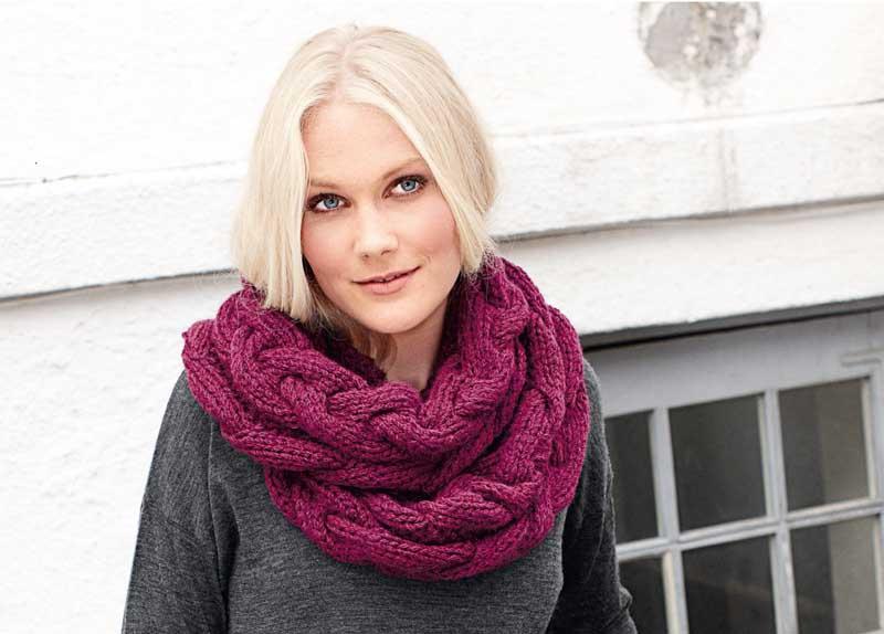 Шапочка и шарф с косами схемы вязания.