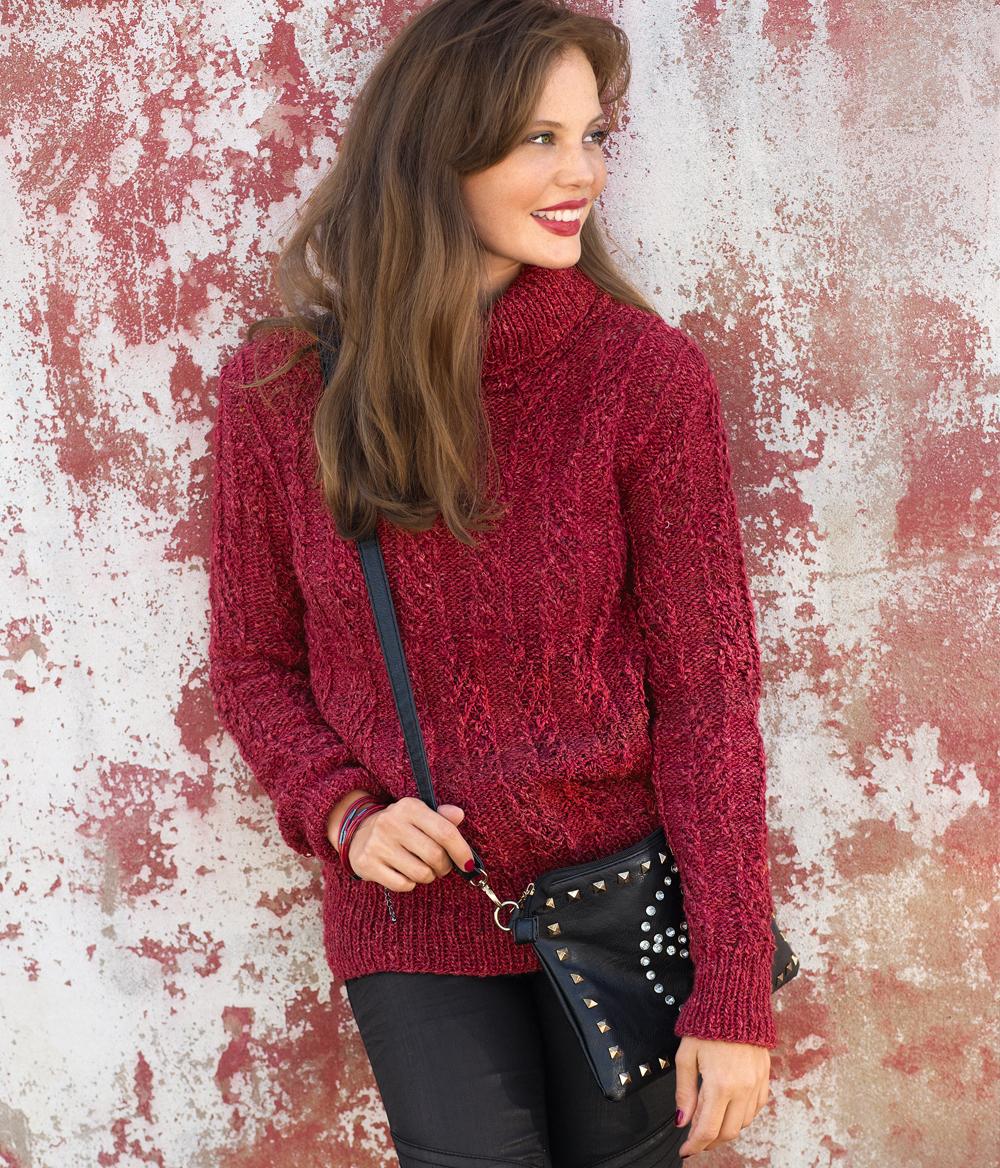 красный свитер с рельефным узором схема вязания спицами вяжем