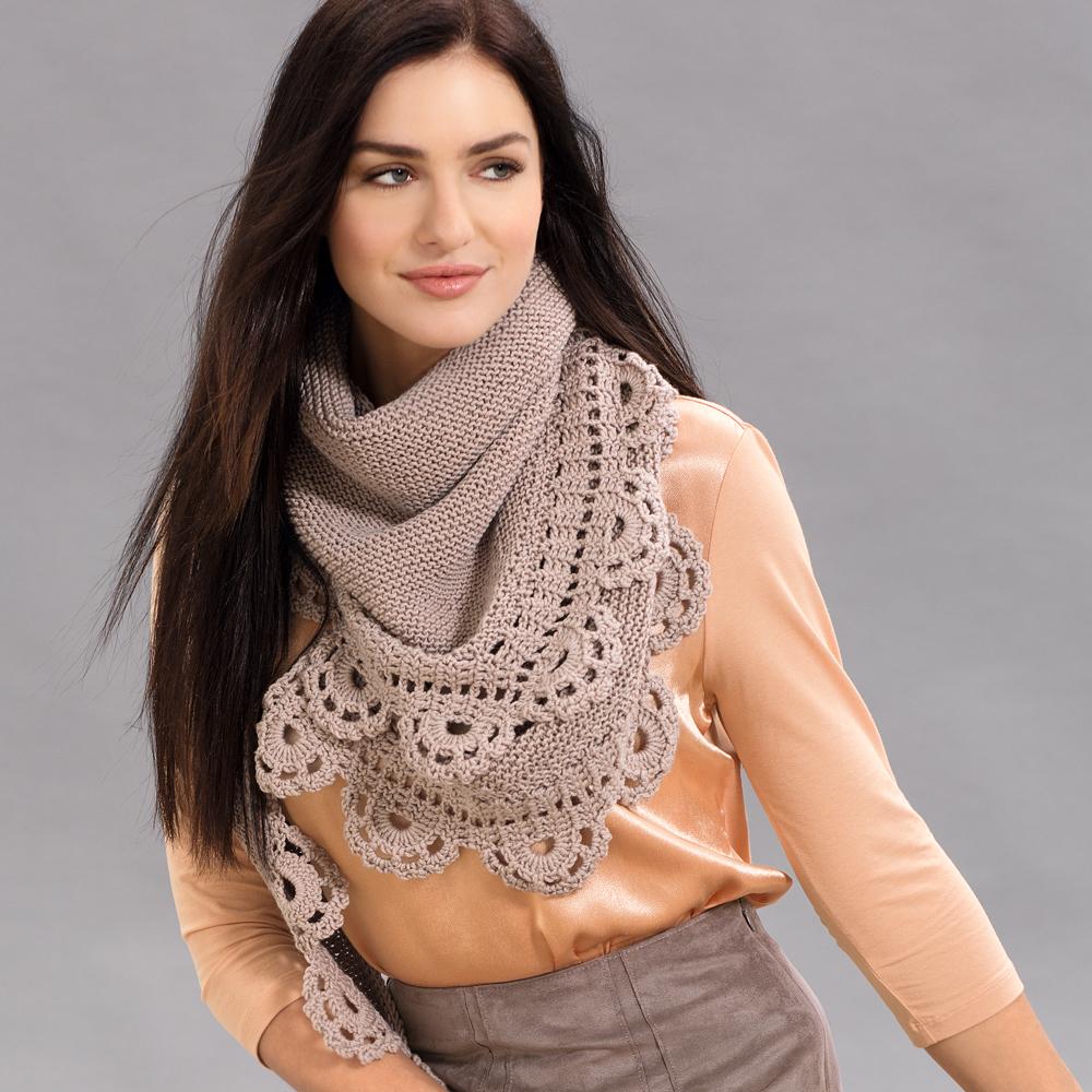 платок с кружевной каймой схема вязания спицами вяжем шали на