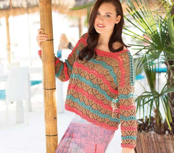 пуловер с узором в полоску схема вязания спицами вяжем пуловеры