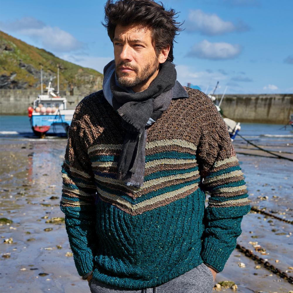 Мужской двухцветный пуловер с полосками