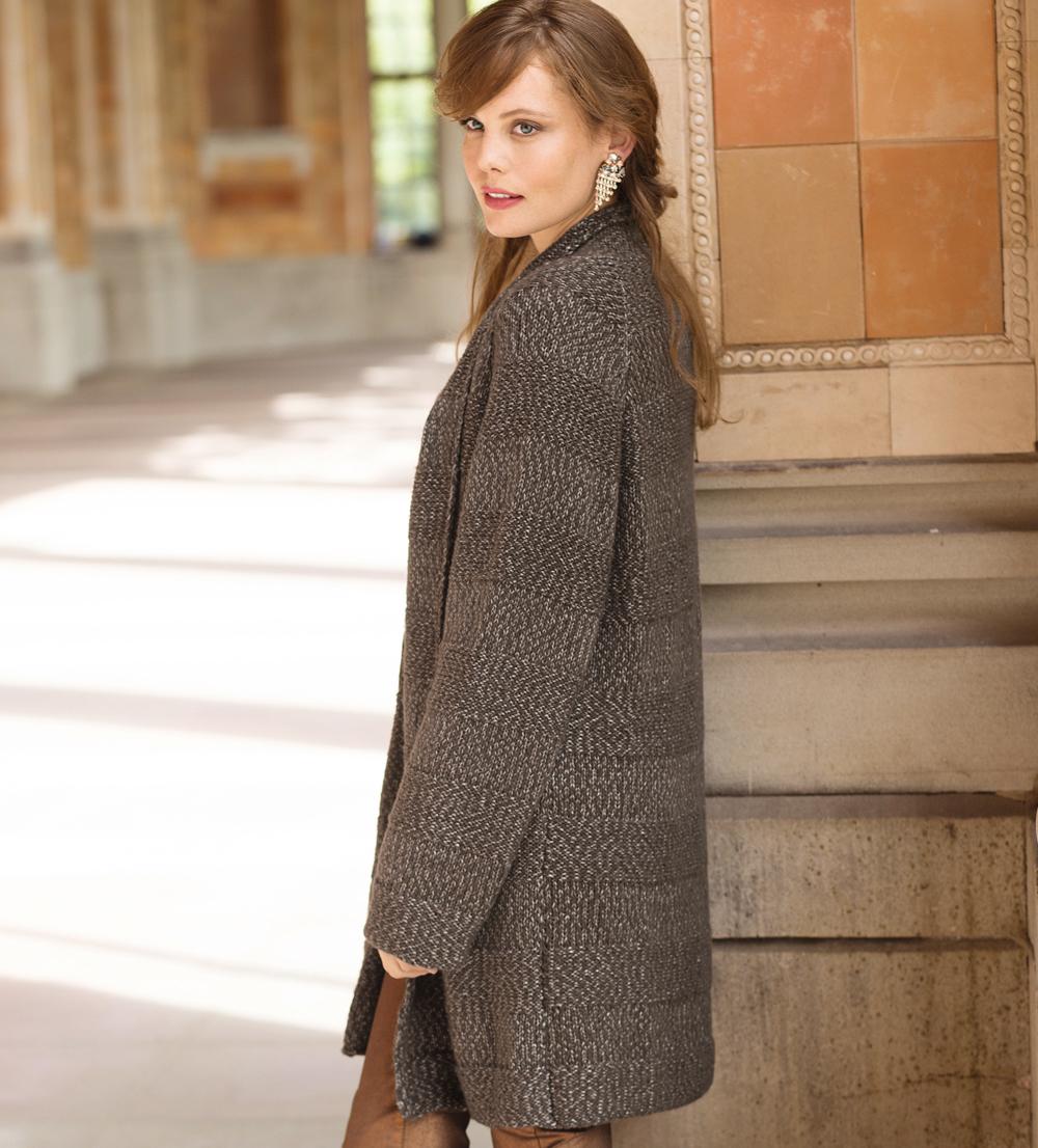 пальто в рельефную полоску схема вязания спицами вяжем пальто на