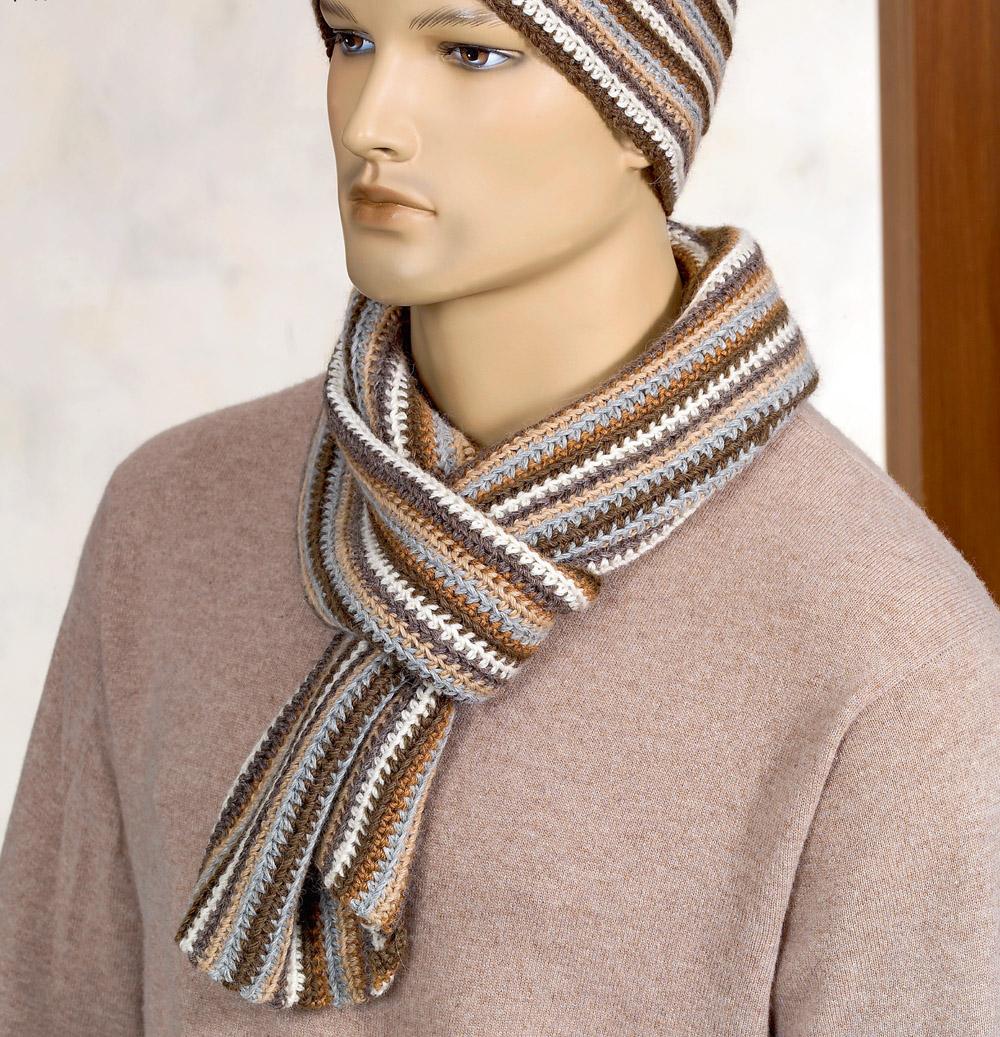 полосатый мужской шарф схема вязания крючком вяжем шарфы на Verenaru