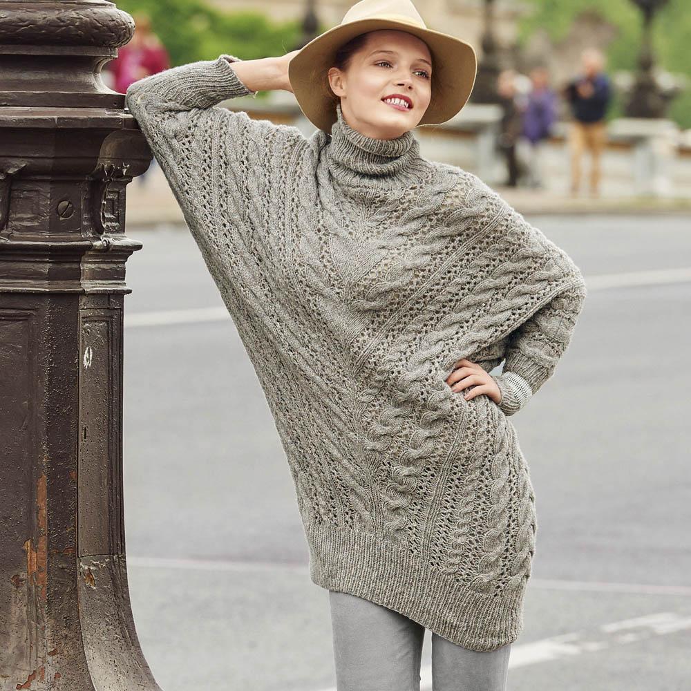 удлиненный свитер с рукавами летучая мышь схема вязания спицами