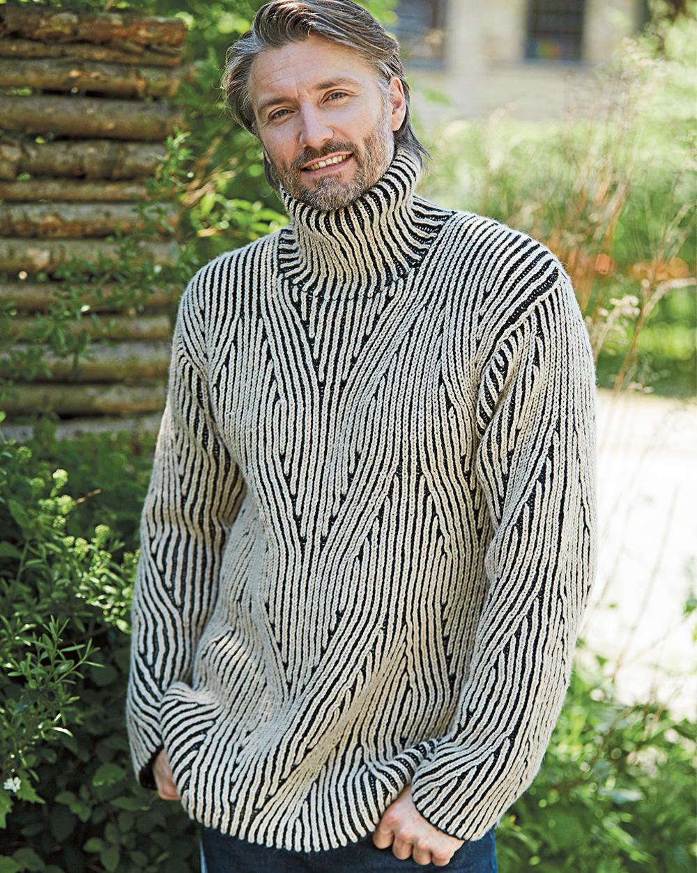 Мужской свитер с патентным узором в форме «кос»