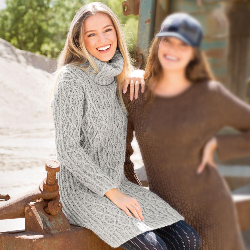 088597cba306858 Теплое платье с высоким воротником - схема вязания спицами. Вяжем Платья на  Verena.ru