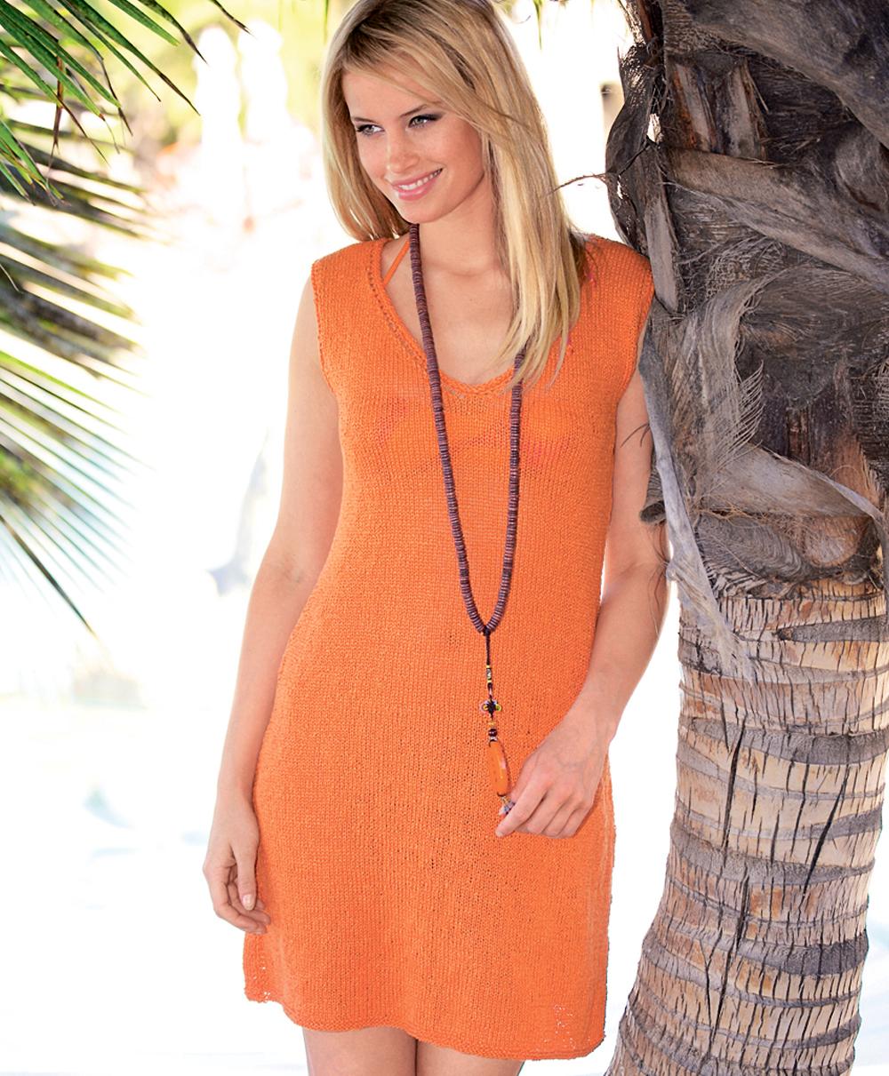 Платье крючком оранжевое