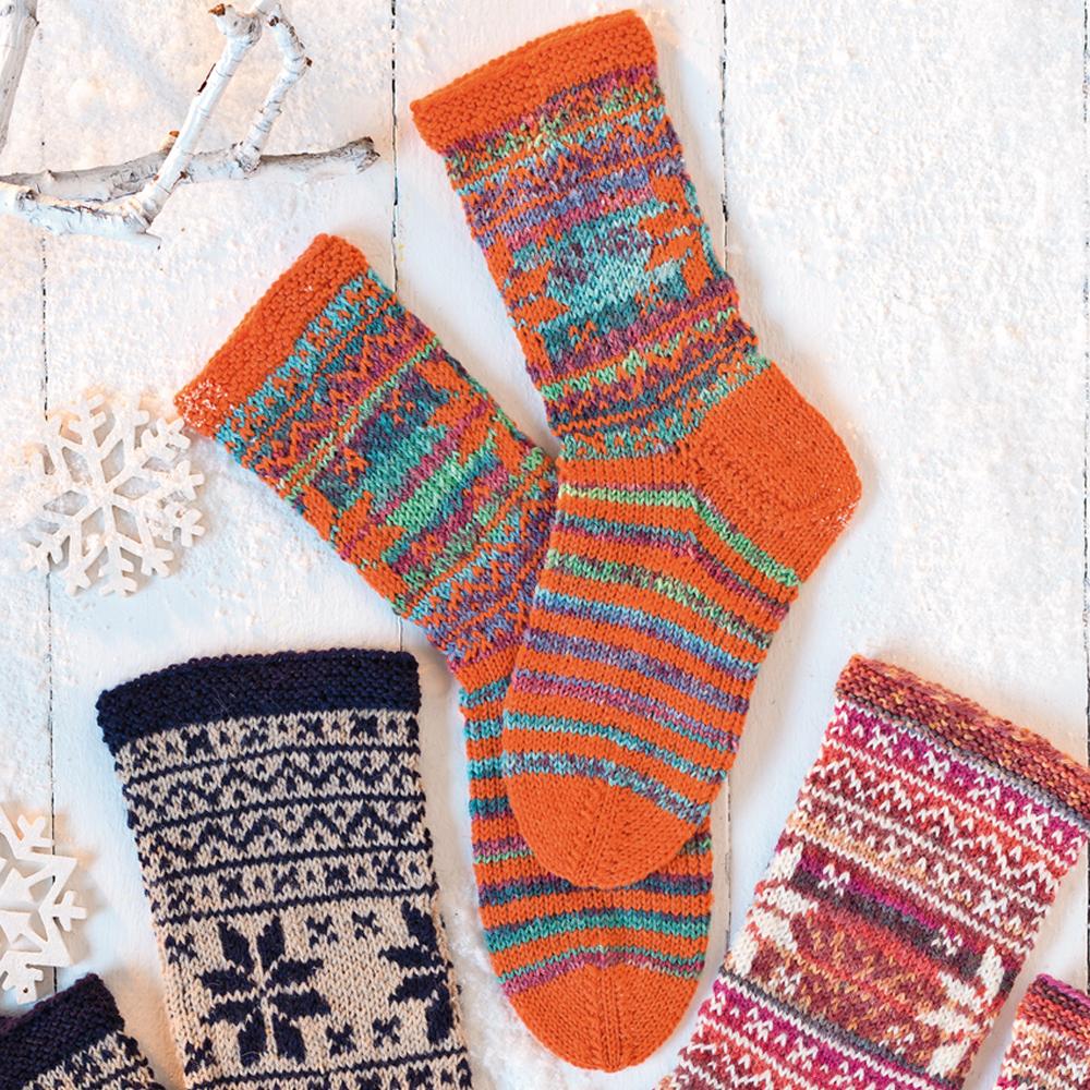 схема узоров вязанных носков