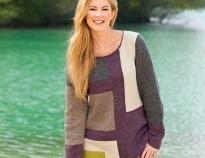 модный вязанный свитер спицами из остатков разных цветов разными прямоугольными фигурами