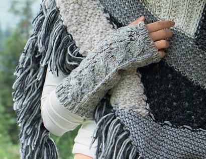 Вязание митенки с косой