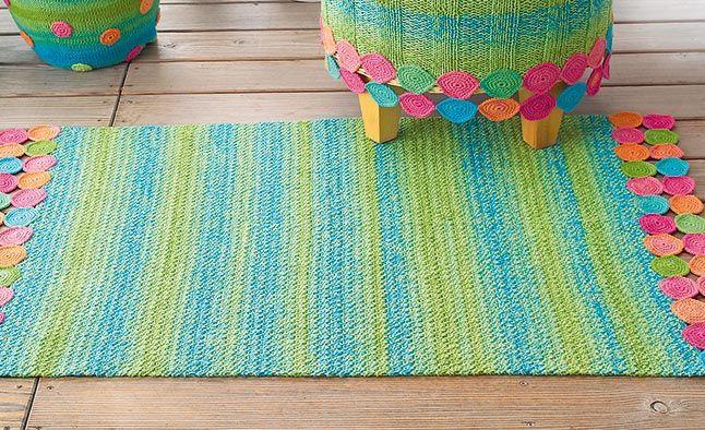 Вязание крючком коврики нитки