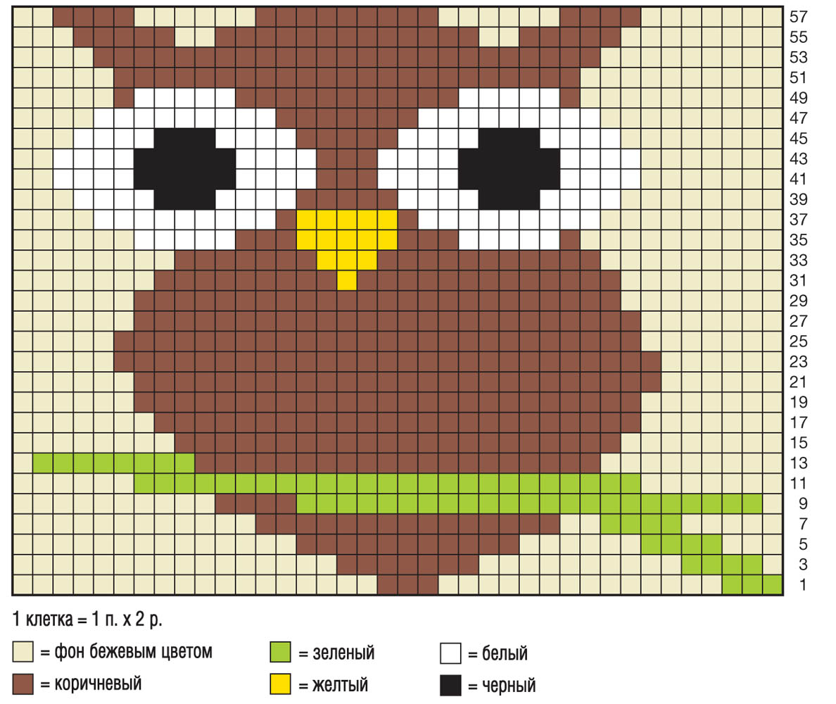 Рисунок сова спицами схема