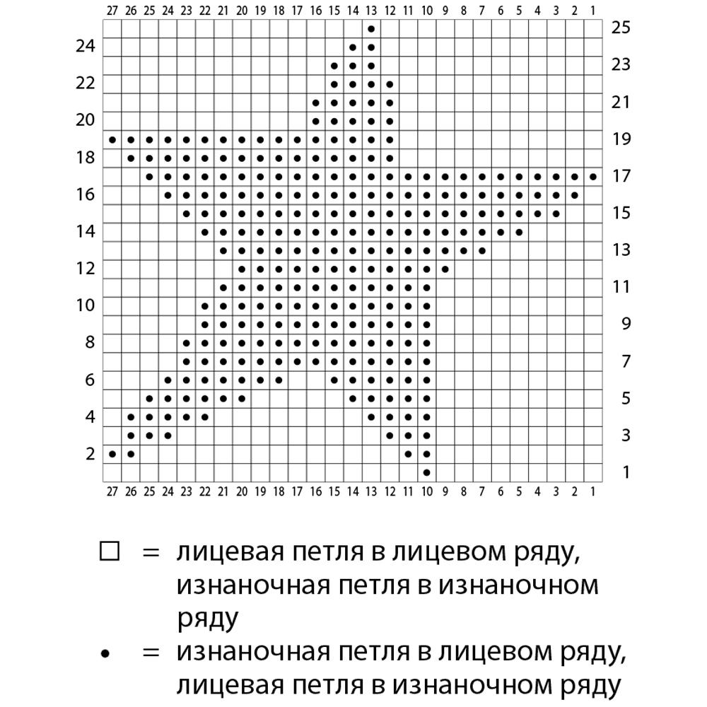 Схема вязания звезды спицами 70
