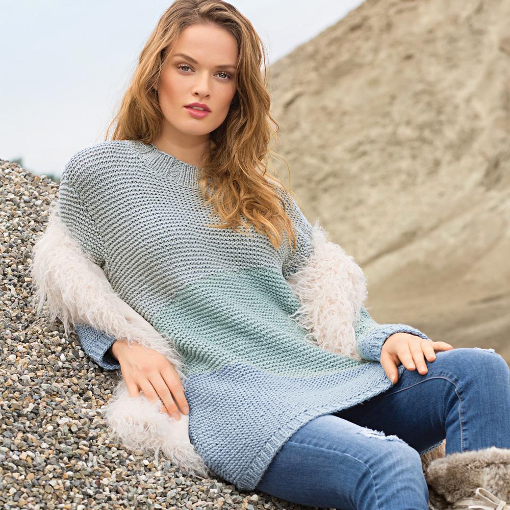Пуловер с интарсиями прохладных оттенков