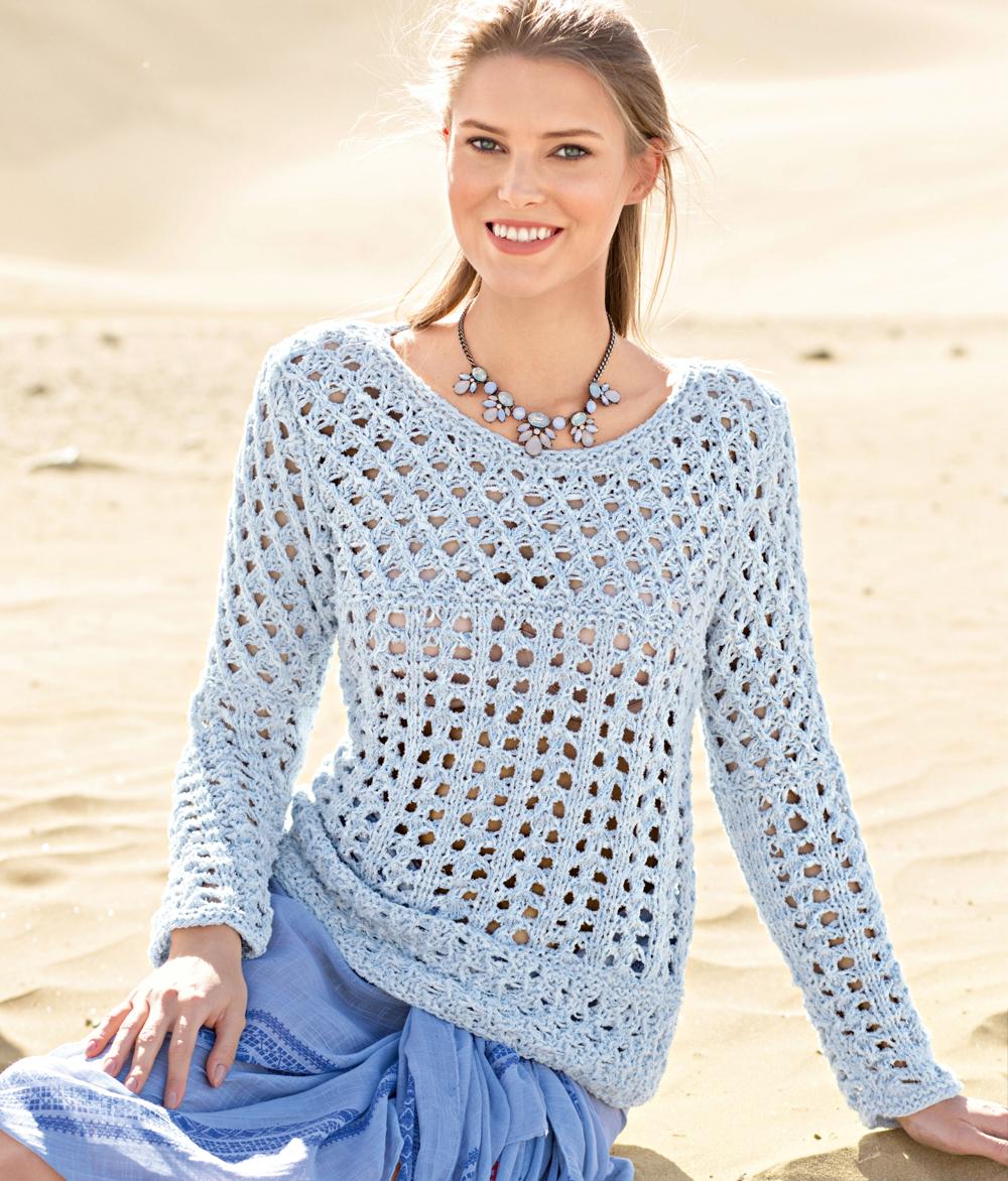 Пуловер с ажурными узорами 41