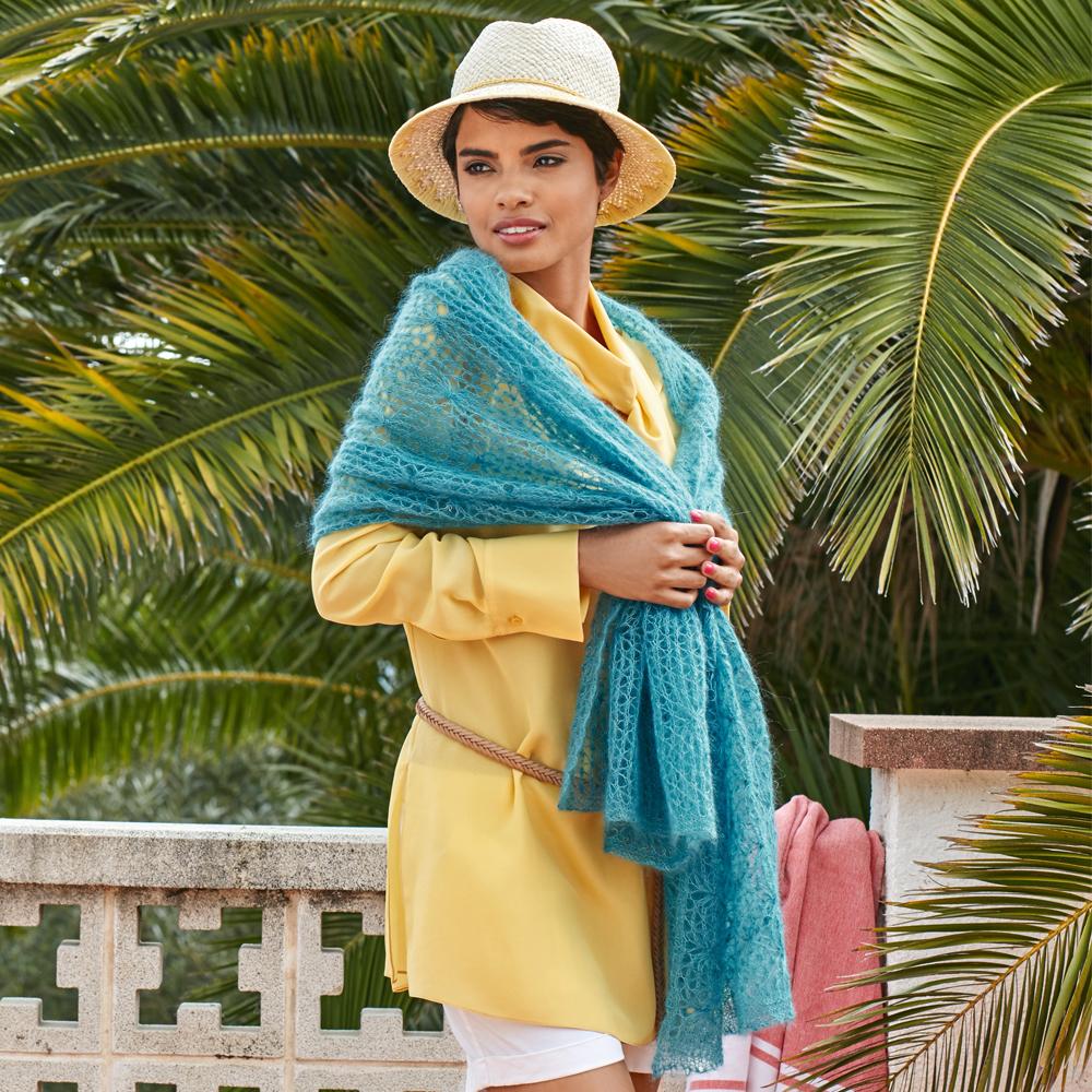 ажурный шарф из мохера спицами схема вязания