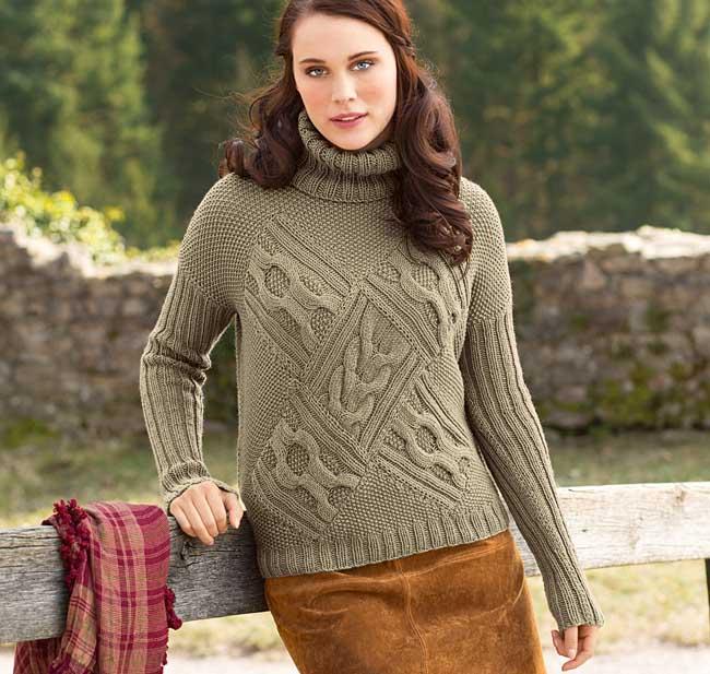 Интересный свитер с весьма сложным передом покажет высочайший уровень вашего мастерства. ВЯЗАНИЕ СПИЦАМИ/джемпер