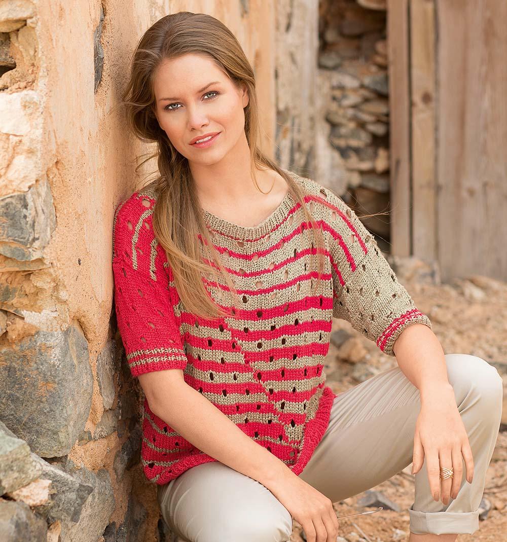 Вязание пуловера спицами с дырочками