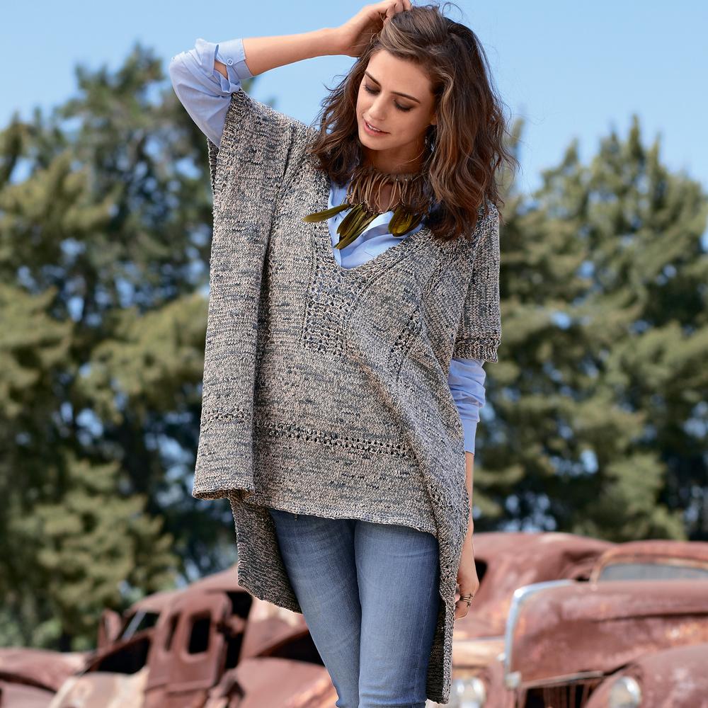 Пуловер пончо