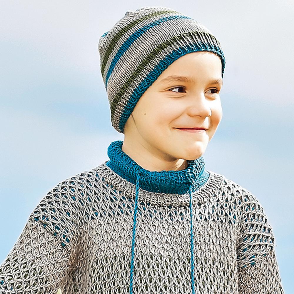 Шапка в полоску для мальчика - схема вязания спицами ...