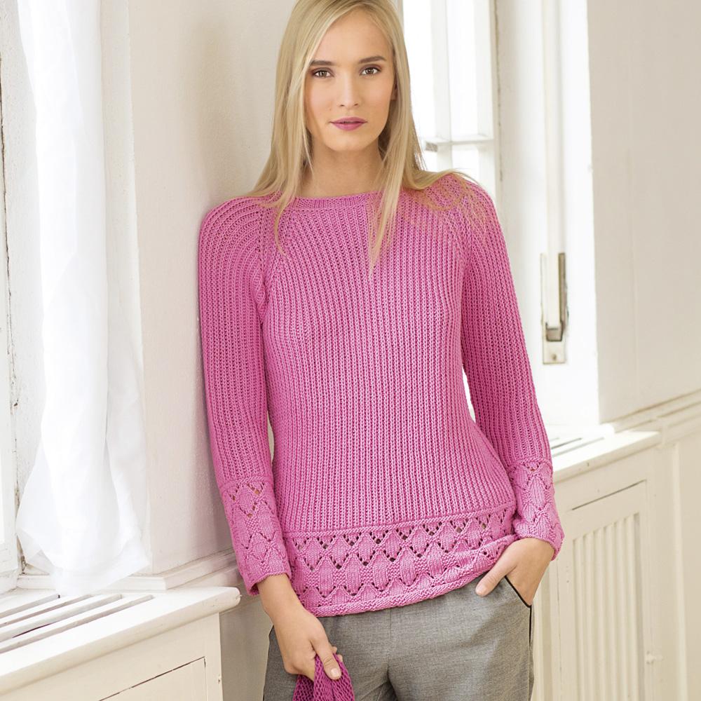 Вязание спицами розовый пуловер 77