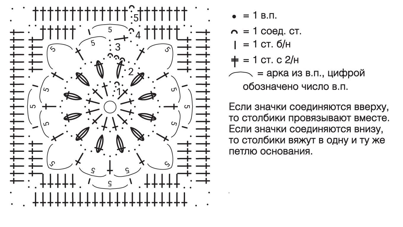 схема тапочек из 6 квадратиков
