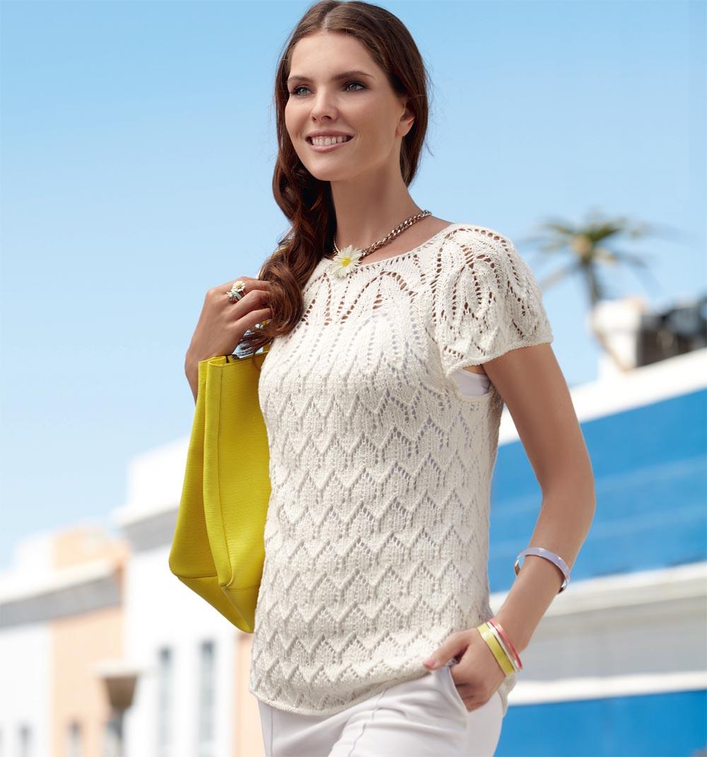 Ажурный пуловер с короткими рукавами